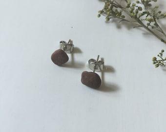 Stone Stud Earrings, Small - Lake Dubay