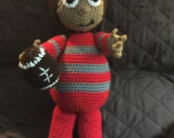 """hand crocheted buckeye head doll 22"""" tall"""