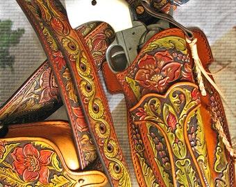 Tooled  leather ranger gun belt, holster SA1873, Cap Box Pouch  A_St_3l