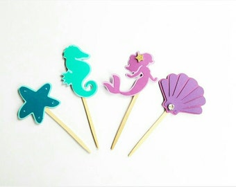 Under the sea mermaid cupcake toppers 12pc