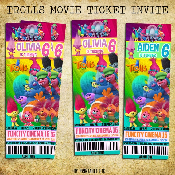 Trolls Movie Ticket Birthday Invitation