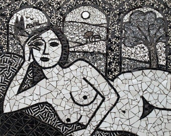 Summer. Black white mosaic of lying woman with scenery