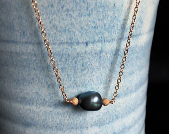 Rose Gold and Blue Freshwater Pearl Necklace