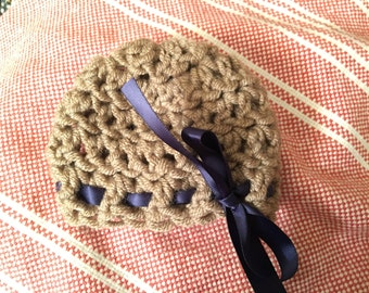 Newborn Crochet Hat with Ribbon (Finished Product)