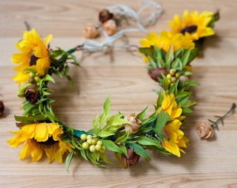 Fall Fairy flower crown/ headpiece/ hair accessory/ flower crown/ fall crown/ sunflowers crown/ photo prop/ wreaths/ country style