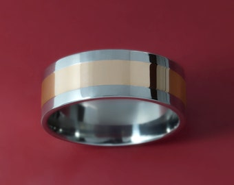 8MM Titanium Wedding Band with Polished 14K Gold Inlay