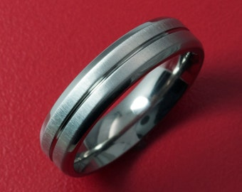 Stunning 5MM Titanium Ring with Shimmering Cross Brush Luster-5beveled with one center grove-xb