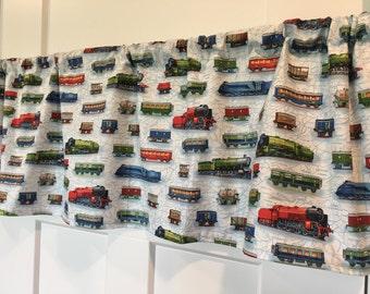Boys room Blue Red Green Locomotive Train Valance