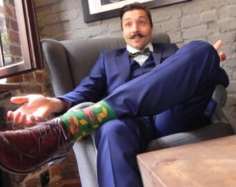 FOXY SUMMER colorful hipster valentines gift socks I green wedding groom groomsmen perfect gift idea socks  funny cute novelty mens socks