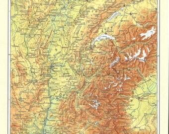 Map old Rhône Alpes (1962) - original Rhône Alpes dating from 1962 vintage map (21cm x 29, 7cm)-sold box