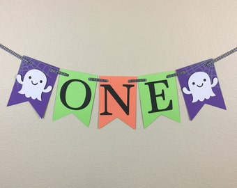 """Halloween High Chair """"ONE"""" Banner, One Banner, High Chair Banner, Halloween Banner, First Birthday, Photo Prop, Halloween Party"""