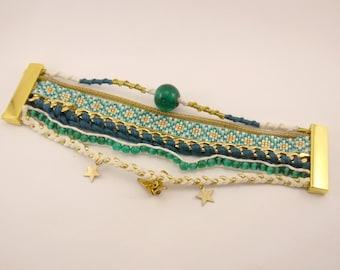 Snap cuff Brazilian bracelet, beads miyuki, chain, braid of suede and gold charms