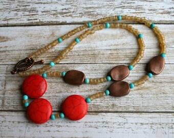 Beaded Gemstone Necklace, Copper Beaded Necklace, Howlite Beaded Necklace, Magnesite Beaded Necklace, Boho Beaded Necklace, Rustic Necklace