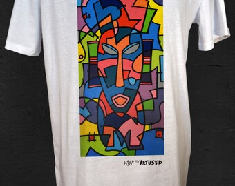 "Men's T-shirt Artused Design ""Molecular Tribes"" 100% Organic - Paint & Print in France -"