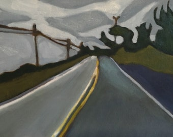 Oil painting, Landscape, Contemporary realism, Mendocino, California, Cypress, trees, original painting, coastal highway, California coast