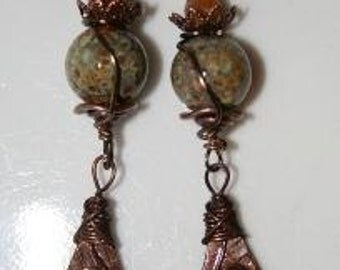 Earthy Copper charm and lampwork bead earrings