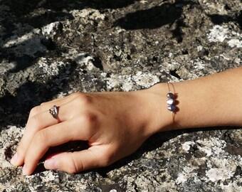 Mounted 3 freshwater pearls bracelet