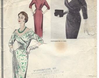 1954 Vintage VOGUE Sewing Pattern DRESS B30 (1264) By Schiaparelli Vogue 1256