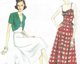 1940 Vintage VOGUE Sewing Pattern 6-8-10-12-14 Dress-Bolero & Belt  (1027) Vogue  V8812