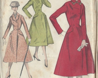1950s Vintage Sewing Pattern COAT B34 (R795) Butterick 548