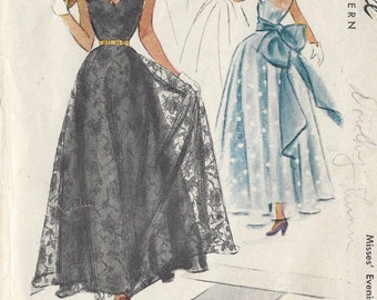 "1948 Vintage Sewing Pattern B32"" EVENING DRESS (R149) McCall 7422"