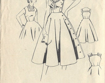"1950s Vintage Sewing Pattern B32"" DRESS (R371)  Leach-Way Pattern 13873"