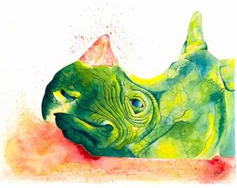 Endangered Species: Javan Rhino (A4 Print with mount)
