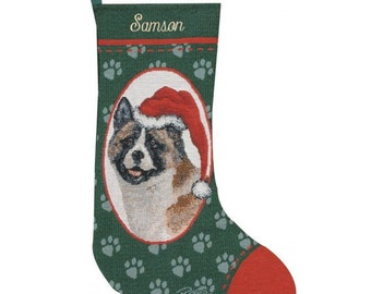 Akita Dog Personalized Christmas Stocking