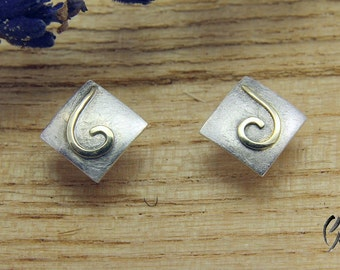 Earrings silver with gold scrolls