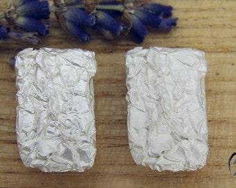 Earrings Silver 925 /-, wrinkled, rectangle