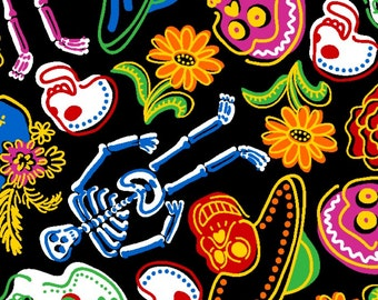 Day of the dead  Anti-Pill Fleece fabric by the yard /David Textiles/Free shipping available/halloween fabric/skull fabric