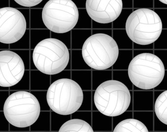 Volleyball Anti-Pill Fleece Fabric (black) by the yard/sports fleece fabric /David Textiles/Free shipping available