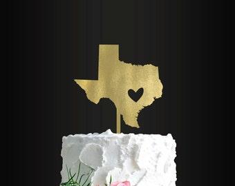 Wedding Cake Topper, Texas, Heart, Cake Topper, Wedding Decor, Cake Decor