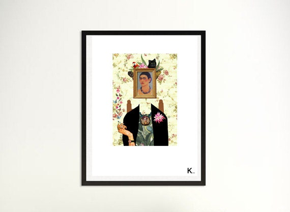 Frida Kahlo illustration, portrait, graphic art, interior design, Frida portrait, poster, print, colored, pop , post, numeric art