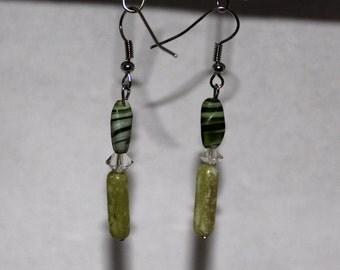 Green Swirl with Green Bead Dangle Earring