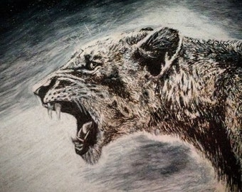 The Hunter, Lion Drawing, Colored Pencil Drawing, Ink Drawing, Handmade Art, Art
