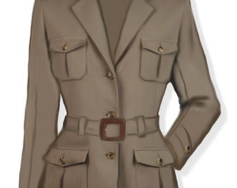 Safari style, women's Sahariana jacket, 4 patterns for 4 different sizes