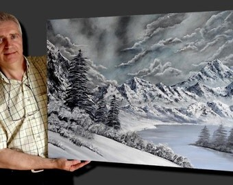 "Painted with acrylics, landscape of mountain, with trees and river, ""Snowy mountains"""