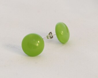 Lime green fused glass stud earrings