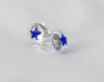 Blue star fused glass stud earrings