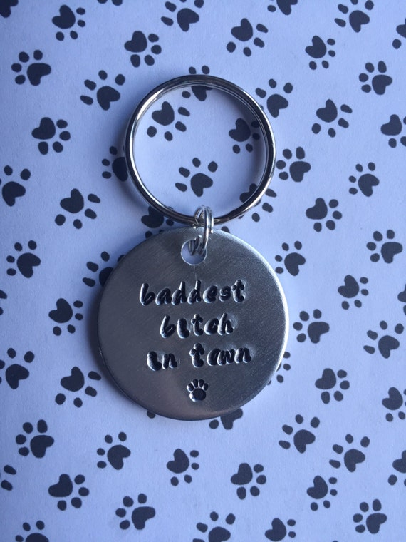 Handmade Aluminium Custom Personalised Dog Tag Hand Stamped. Baddest b*tch in town.