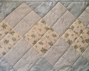 Quilted cream/blue Table Runner 38 inches by 11 inches