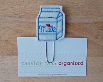 Milk Planner Clip, felt planner clip, bookmark, planner clip, bookmark, planner accessory, organizer, organizer accessory