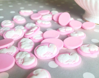 Pink Cameo Cabochon | Light Pink Resin Cameo | Soft Pink Cameo | 13x18mm | Victorian Style | Cameo Cabochon | Lady Silhouette | 4 Pieces