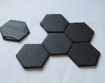 hexagonal natural slate coasters