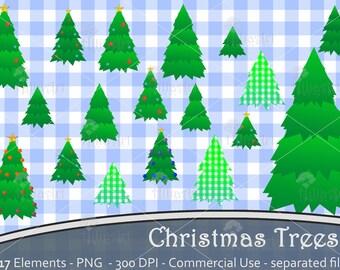 Christmas trees, pine, tree, forest, christmas decoration, santa, scrapbooking, digital clipart, handmade