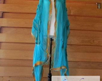 Teal Silk Nuno Felted Wrap / Handmade / Merino Wool / Alpaca / Metallic / Women's Gift Idea / Gold / Green / Shawl
