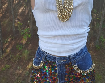 Sequin Shorts, Embellished Shorts, Chain Shorts, Unique Shorts.