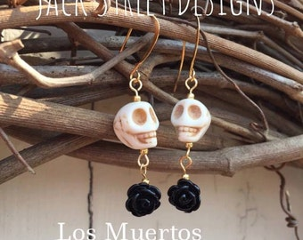 Los Muertos Black Rose Skull Earrings