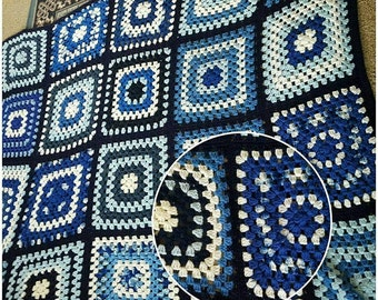 Gorgeous Shades of Blue Granny Square Retro Crochet Blanket.
